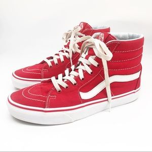 Red Vans High Tops Old School Sneakers